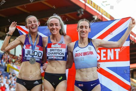 Silver medalist Jessica JUDD, gold medalist Eilish MCCOLGAN and bronze medalist Laura WEIGHTMAN after the Women's 5000m Final during the Muller British Athletics Championships at Alexander Stadium, Birmingham