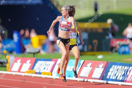 Eilish MCCOLGAN checks for second placed Jessica JUDD as she sprints to the finish line in the Women's 5000m Final during the Muller British Athletics Championships at Alexander Stadium, Birmingham
