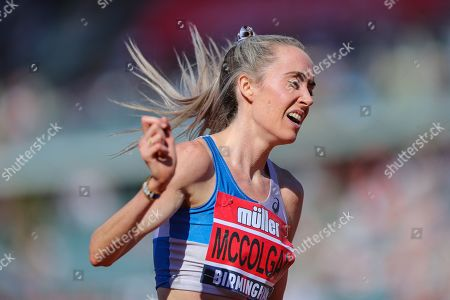Eilish MCCOLGAN celebrates as she wins the Women's 5000m Final during the Muller British Athletics Championships at Alexander Stadium, Birmingham