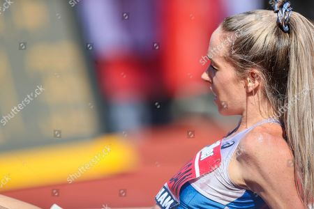 Eilish MCCOLGAN recovers after winning the Women's 5000m Final during the Muller British Athletics Championships at Alexander Stadium, Birmingham
