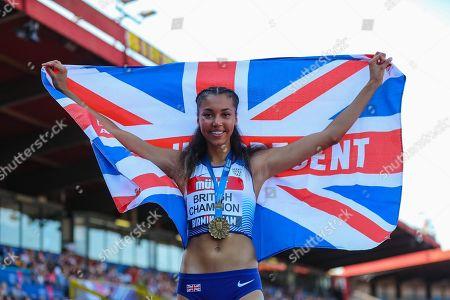 Morgan LAKE, winner of the Women's High Jump Final with a seasons best jump of 1.94m during the Muller British Athletics Championships at Alexander Stadium, Birmingham