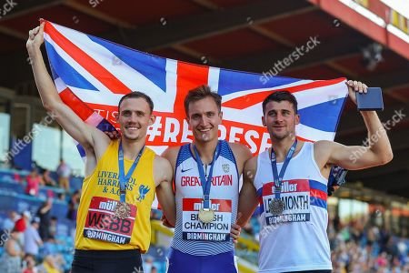 Bronze medalist Jamie WEBB, gold medalist Spencer THOMAS and silver medalist Guy LEARMONTH after the Men's 800m Final during the Muller British Athletics Championships at Alexander Stadium, Birmingham