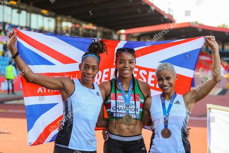 Silver medalist Shara PROCTOR, gold medalist Abigail IROZURU and bronze medalist Jazmin SAWYERS after the Women's Long Jump Final during the Muller British Athletics Championships at Alexander Stadium, Birmingham