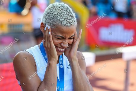 Women's Long Jump Final, bronze medalist, Jazmin SAWYERS shares a joke during the Muller British Athletics Championships at Alexander Stadium, Birmingham