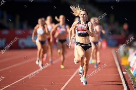 Sarah McDonald of Birchfield Harriers celebrates after winning  the Women's 1500 Meter Final