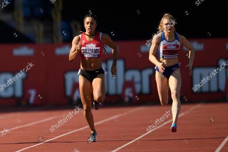 Jodie Williams of Hearts Phoenix during the Women's 200 Meter Final.