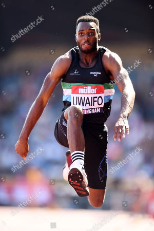 Efe Uwaifo of Enfield & Haringey H competes in the Men's Triple Jump Final.