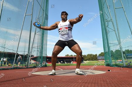 Lawrence Okoye of Croydon competes in the Men's Discus Throw Final.