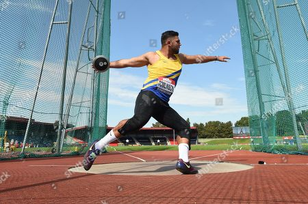 Stock Image of James Tomlinson of Pembrokeshire competes in the Men's Discus Throw Final.