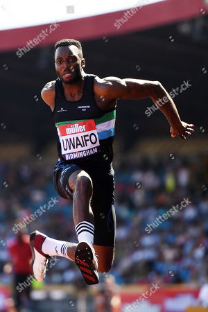 Efe Uwaifo of Enfield & Haringey H competes during the Men's Triple Jump Final.