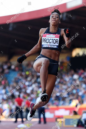 Shara Proctor of Birchfield Harriers competes during the Women's Long Jump Final.