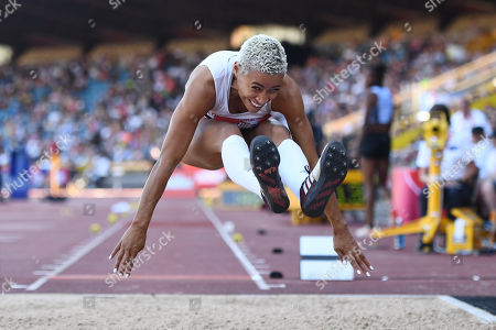 Jazmin Sawyers of The City of Stoke competes during the Women's Long Jump Final.