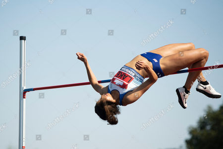 Morgan Lake of WSE Hounslow competes in the Women's High Jump  final.