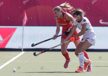 Stock Picture of Lily Owsley of England (L) and Lucia Jimenez of Spain in action during the EuroHockey 2019 women's third place match between Spain and England in Antwerp, Belgium, 25 August 2019.