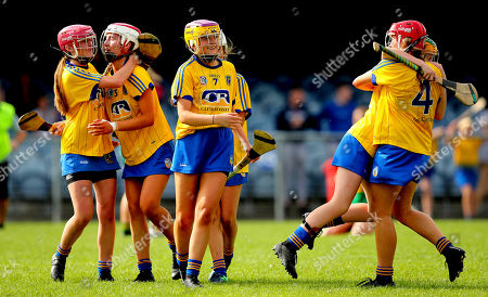 Kerry vs Roscommon. Roscommon's Shauna Regan, Ali Campbell and Orla Connolly celebrate at the final whistle