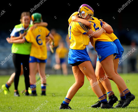 Kerry vs Roscommon. Roscommon's Shauna Regan, Ali Campbell and Niamh Kelly celebrate at the final whistle