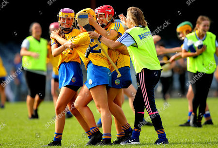 Kerry vs Roscommon. Roscommon's Shauna Regan, Ali Campbell and Niamh Kelly celebrate at the final whistle with Manager Mary Grehan
