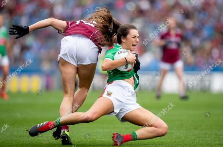 25/8/2019. Mayo vs Galway. Mayo's Niamh Kelly with Mairead Seoige of Galway
