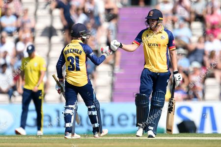 Daniel Lawrence and Adam Wheater of Essex during the Vitality T20 Blast South Group match between Hampshire County Cricket Club and Essex Eagles at the Ageas Bowl, Southampton