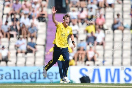 Stock Picture of Chris Morris of Hampshire celebrates the wicket of Ryan ten Doeschate during the Vitality T20 Blast South Group match between Hampshire County Cricket Club and Essex Eagles at the Ageas Bowl, Southampton