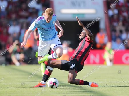 Kevin De Bruyne of Manchester City is brought down by Jefferson Lerma of Bournemouth