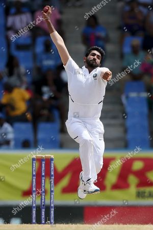 India's Jasprit Bumrah bowls against West Indies during day four of the first Test cricket match at the Sir Vivian Richards cricket ground in North Sound, Antigua and Barbuda