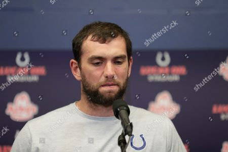 Indianapolis Colts quarterback Andrew Luck speaks during a news conference following an NFL preseason football game against the Chicago Bears, in Indianapolis. The oft-injured star is retiring at age 29