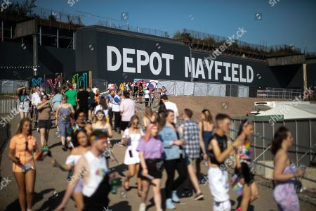 Fans of Ariana Grande and other musical acts gather at Mayfield Depot ahead of performances.