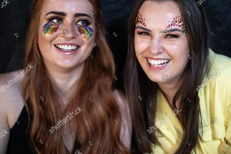 CHARLOTTE GARDNER (24) and REMI KERSEY (24) both from Chelmsford. Fans of Ariana Grande and other musical acts gather at Mayfield Depot ahead of performances.