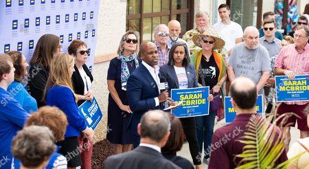 Human Rights Campaign president Alphonso David endorses Sarah McBride for Delaware state senate at Wilmington Brew Works in Wilmington, Del