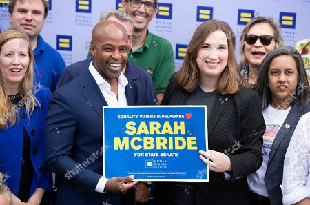 Human Rights Campaign president Alphonso David, left, endorses Sarah McBride, right, for Delaware state senate at Wilmington Brew Works in Wilmington, Del