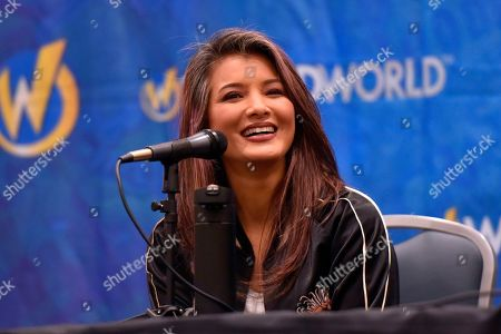 Stock Image of Kelly Hu participates during a Q&A panel on day four at Wizard World at the Donald E Stephens Convention Center, in Chicago