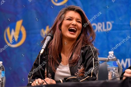 Kelly Hu participates during a Q&A panel on day four at Wizard World at the Donald E Stephens Convention Center, in Chicago