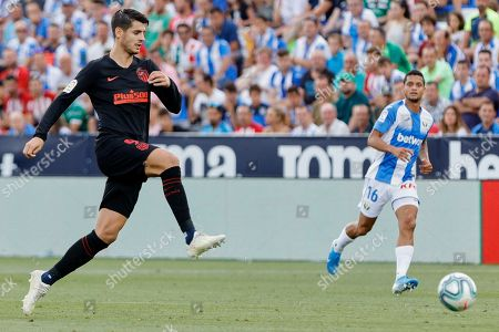 Alvaro Morata of Atletico de Madrid and Kenneth Josiah Omeruo of Leganes
