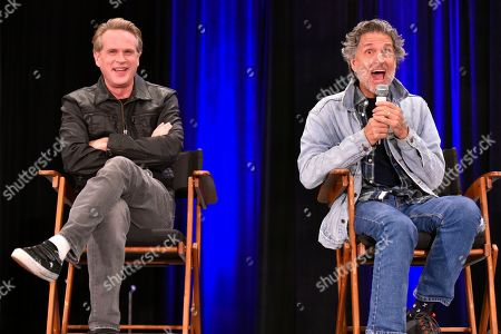 Stock Image of Chris Sarandon, Cary Elwes. Cary Elwes, left, and Chris Sarandon participate during a Q&A panel on Day 2 at Wizard World at the Donald E Stephens Convention Center, in Chicago