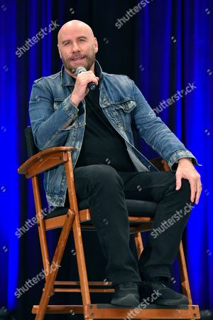 John Travolta participates during a Q&A panel on Day 2 at Wizard World at the Donald E Stephens Convention Center, in Chicago