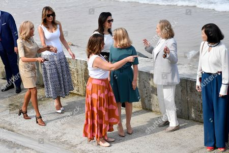 Stock Image of (L-R) Brigitte Macron (L), wife of French President Emmanuel Macron, U.S. First Lady Melania Trump (2-L), Akie Abe (R), wife of Japan's Prime Minister Shinzo Abe, Chile's First Lady Cecilia Morel (2-R), Jenny Morrison (3-L), wife of Australia's Prime Minister Scott Morrison, Malgorzata Tusk (3-R), wife of European Council President Donald Tusk and Adele Malpass (C), wife of World Bank President David Malpass visit the Cote des Basques beach as part of the G7 summit, in Biarritz, France, 26 August 2019. The G7 Summit runs from 24 to 26 August in Biarritz.
