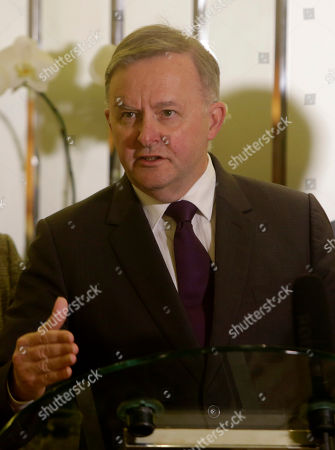 Australian Opposition Leader Anthony Albanese talks to journalists during a press conference in Jakarta, Indonesia, 26 August 2019. Albanese visit Jakarta to discuss ties with Indonesian government.