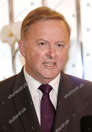 Australia's opposition leader Anthony Albanese speaks to the media during a press conference in Jakarta, Indonesia