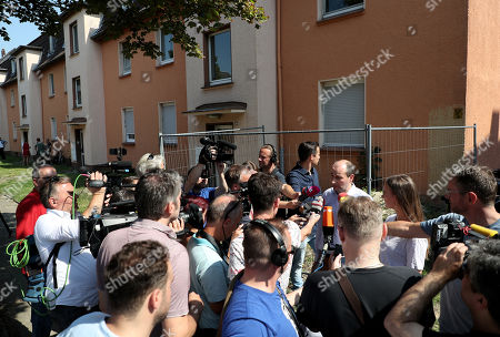 Christoph Huesken, press speaker of the city Herne gives media an interview to the investigation conditions of the missing Cobra snake in Herne, Germany, 26 August 2019. A cobra escaped from Herne in North Rhine-Westphalia. Police suspect the dangerous poisonous snake in the area and have had houses evacuated. The search was carried out with the help of adhesive tape and flour.