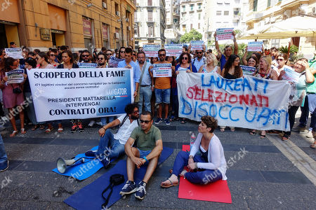 Stock Photo of Naples begins the hunger strike against the failure to sign the contract by the president of the Campania region Vincenzo De Luca
