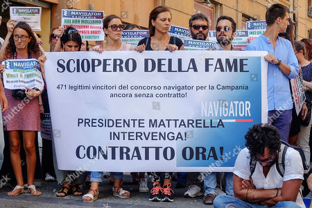 Stock Picture of Naples begins the hunger strike against the failure to sign the contract by the president of the Campania region Vincenzo De Luca