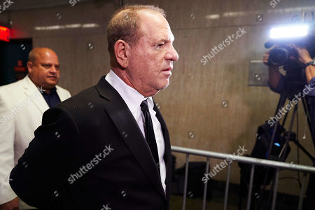 Disgraced movie producer Harvey Weinstein (R) arrives to New York State Supreme Court for a hearing related to his upcoming trial on charges of rape and sexual assault in New York, New York, USA, 26 August 2019. Weinstein is being re-arraigned on revised charges based on rape accusations from actress Annabella Sciorra and a judge in the case was expected to rule on a motion by defense attorneys to move the case out of New York City.