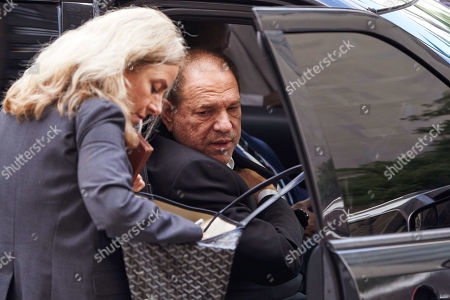 Disgraced movie producer Harvey Weinstein (R), leaves New York State Supreme Court following a hearing related to his upcoming trial on charges of rape and sexual assault in New York, New York, USA, 26 August 2019. Weinstein is being re-arraigned on revised charges based on rape accusations from actress Annabella Sciorra and a judge in the case was expected to rule on a motion by defense attorneys to move the case out of New York City.
