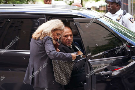 Disgraced movie producer Harvey Weinstein (C), leaves New York State Supreme Court following a hearing related to his upcoming trial on charges of rape and sexual assault in New York, New York, USA, 26 August 2019. Weinstein is being re-arraigned on revised charges based on rape accusations from actress Annabella Sciorra and a judge in the case was expected to rule on a motion by defense attorneys to move the case out of New York City.