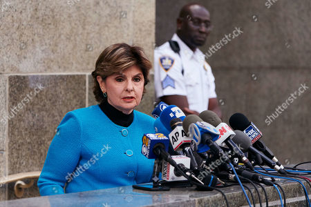 Attorney Gloria Allred (L), who represents Harvey Weinstein accusers, speaks during a news confrence after Weinstein left New York State Supreme Court following a hearing related to his upcoming trial on charges of rape and sexual assault in New York, New York, USA, 26 August 2019. Weinstein is being re-arraigned on revised charges based on rape accusations from actress Annabella Sciorra and a judge in the case was expected to rule on a motion by defense attorneys to move the case out of New York City.