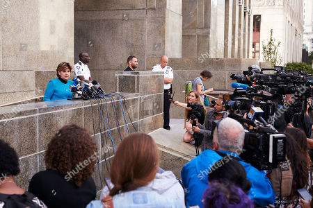Stock Picture of Attorney Gloria Allred (L), who represents Harvey Weinstein accusers, speaks during a news confrence after Weinstein left New York State Supreme Court following a hearing related to his upcoming trial on charges of rape and sexual assault in New York, New York, USA, 26 August 2019. Weinstein is being re-arraigned on revised charges based on rape accusations from actress Annabella Sciorra and a judge in the case was expected to rule on a motion by defense attorneys to move the case out of New York City.