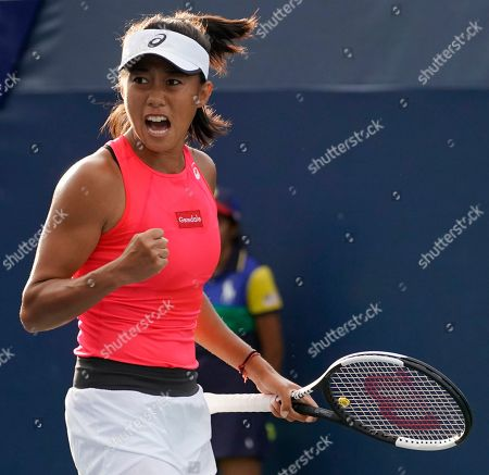 Shuai Zhang of China reacts as she plays Viktorija Golubic of Switzerland during their match on the first day of the US Open Tennis Championships the USTA National Tennis Center in Flushing Meadows, New York, USA, 26 August 2019. The US Open runs from 26 August through 08 September.