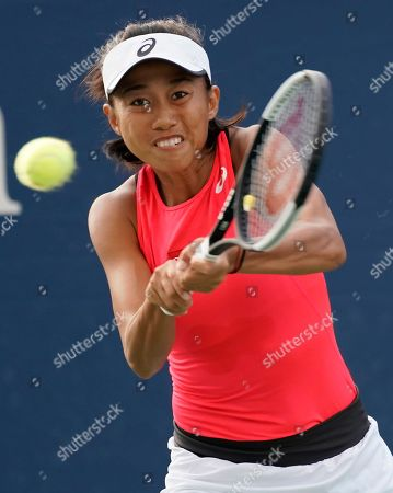Shuai Zhang of China hits a return to Viktorija Golubic of Switzerland during their match on the first day of the US Open Tennis Championships the USTA National Tennis Center in Flushing Meadows, New York, USA, 26 August 2019. The US Open runs from 26 August through 08 September.