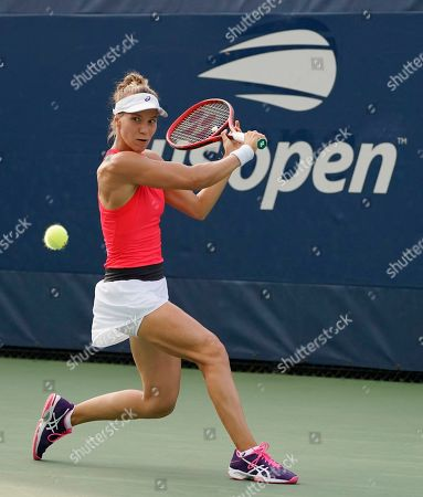 Viktorija Golubic of Switzerland hits a return to Shuai Zhang of China during their match on the first day of the US Open Tennis Championships the USTA National Tennis Center in Flushing Meadows, New York, USA, 26 August 2019. The US Open runs from 26 August through 08 September.